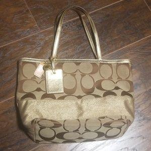 Coach gold matallic purse